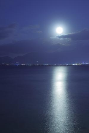 moonshine: Full moon over Mediterranean Sea and moon-glade, Crete Island, Greece