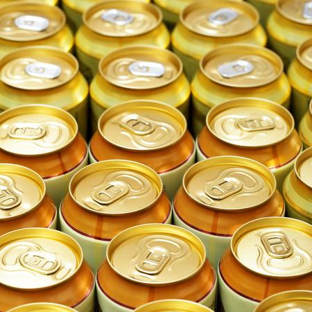 gold cans: Un sacco di lattine di birra in oro. DOF poco profondo!