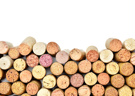 Veel wijnkurken met witte copyspace Stockfoto