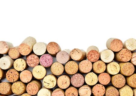 Viele Weinkorken mit weißen Exemplar