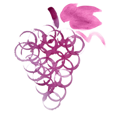 Grapes bunch of real red wine stains isolated on the white background