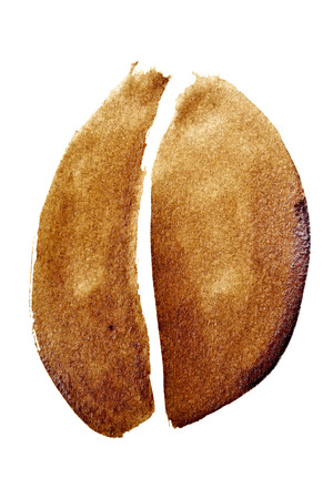 a stain: Coffee bean isolated on the white background painted in real coffee Stock Photo
