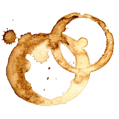 Coffee stains isolated on white background (Used real coffee)