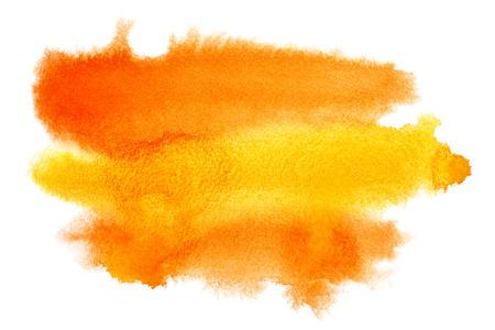 naranja: Amarillo - naranja acuarela mancha - el espacio para su propio texto Foto de archivo
