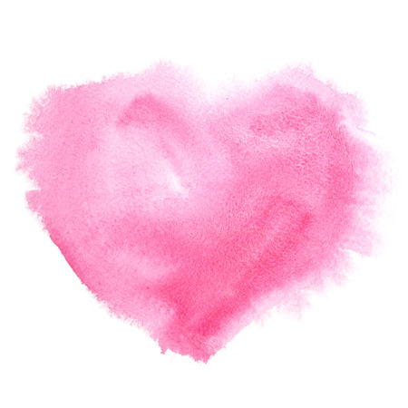 Red watercolor heart isolated on the white background