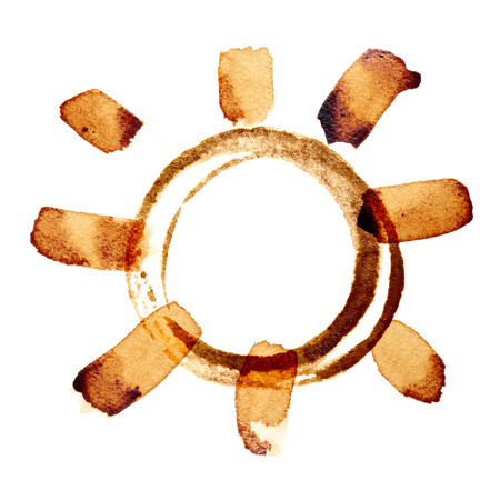 cofee cup: Coffee sun isolated on the white background painted in real coffee