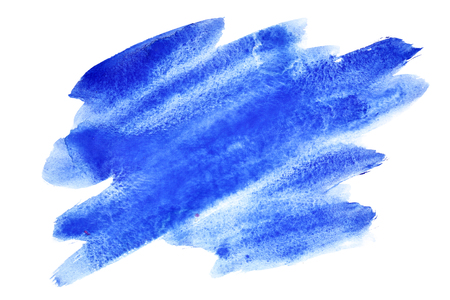 expressive: Expressive blue watercolor brush strokes isolated on the white background