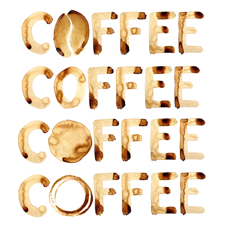drinking coffee: Words coffee painted in real coffee