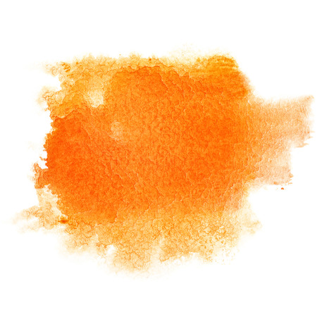 Orange watercolor brush stroke isolated over the white background Фото со стока