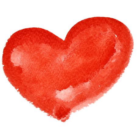 dessin coeur: coeur d'aquarelle rouge isolé sur le fond blanc - illustration raster Banque d'images