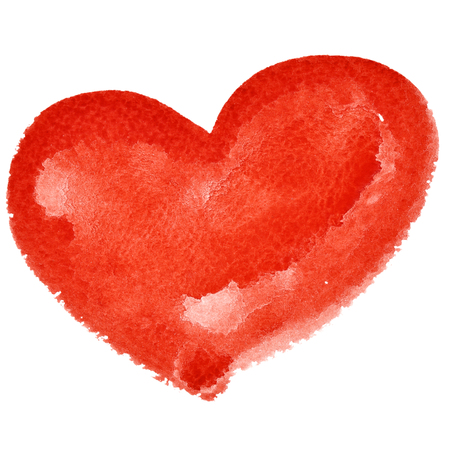 Red watercolor heart isolated on the white background - raster illustration Фото со стока