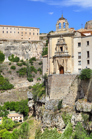 curch: Curch on the cliff in Cuenca, Spain. Stock Photo