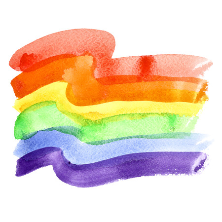 bisexual: Watercolor rainbow Gay Pride Flag isolated over the white background