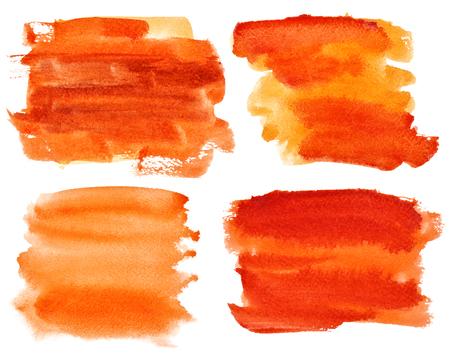 watercolor brush: Set of expressive orange watercolor brush strokes
