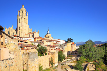 segovia: Viev of old town of Segovia, Spain Stock Photo