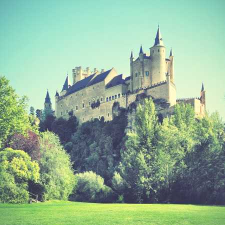 castile leon: Castle of Segovia Alcazar, Spain. Retro style filtered image