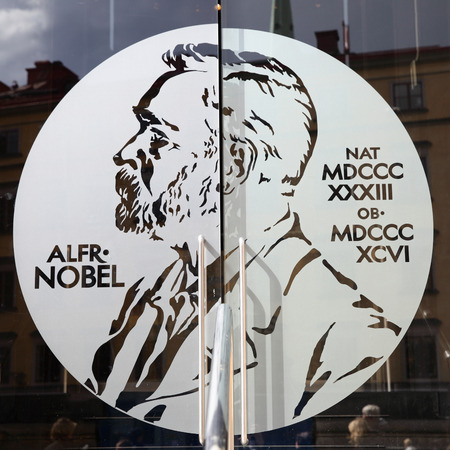 STOCKHOLM, SWEDEN - May 21, 2015: Portrait of Alfred Nobel on the glass door of Swedish Academy and Nobel Museum in Stockholm 에디토리얼