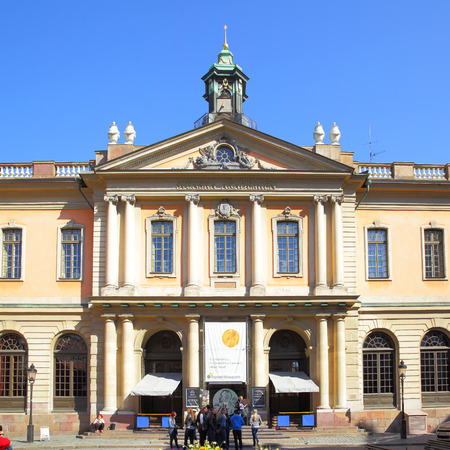 nobel: STOCKHOLM, SWEDEN - May 21, 2015: Building of Swedish Academy and Nobel Museum in Stockholm