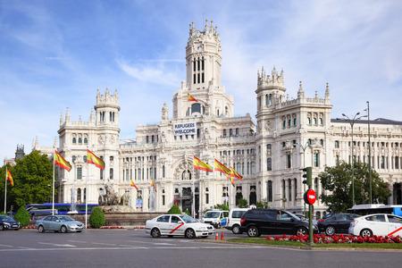 palacio: MADRID, SPAIN - SEPTEMBER 23, 2015: Palacio de Comunicaciones at Plaza de Cibeles in Madrid Editorial
