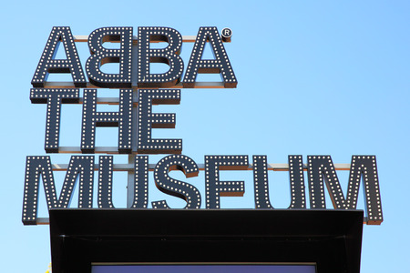 STOCKHOLM, SWEDEN - May 21, 2015: Close-up of signboard the ABBA Museum in Stockholm 에디토리얼