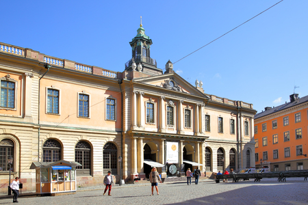 academy awards: STOCKHOLM, SWEDEN - May 21, 2015: Building of Swedish Academy and Nobel Museum on Stortorget square in Stockholm Editorial
