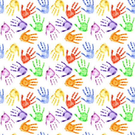 hand prints: Colorful watercolor hand prints - seamless background