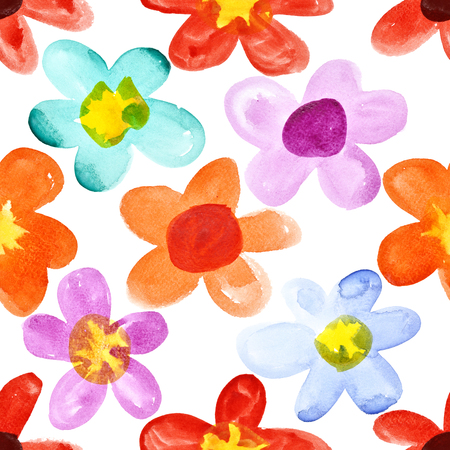 Watercolor flowers - multicolored seamless floral pattern Stock Photo