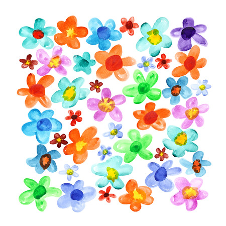 lots: Lots colorful watercolor flowers isolated over the white background