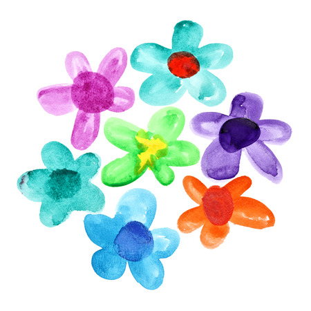 pictured: Bunch of multicoloured watercolor flowers isolated over the white background Stock Photo