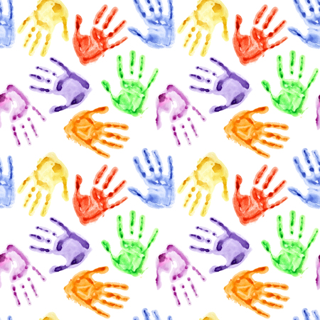 hand prints: Rainbow watercolor hand prints - colorful seamless background