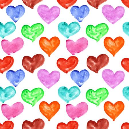 multicolored: Watercolor hearts- multicolored seamless pattern