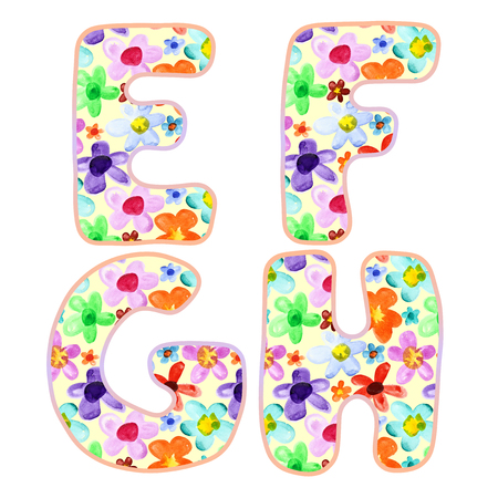 letters of the alphabet: Alphabet with colorful watercolor flower pattern. Letters E, F, G, H