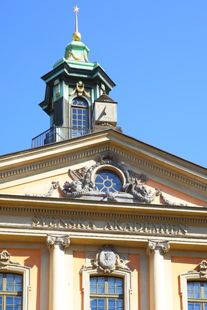 nobel: STOCKHOLM, SWEDEN - May 21, 2015: Building of Swedish Academy Svenska Akademien and Nobel Museum in Stockholm Editorial