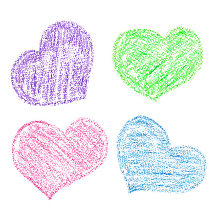 crayons: Crayon hearts of different colors isolated over the white background Stock Photo