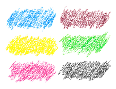 many coloured: Set of colorful crayon strokes isolated over the white background Stock Photo