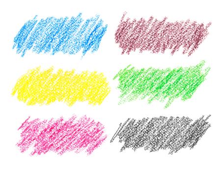 Set van kleurrijke krijt slagen die over de witte achtergrond
