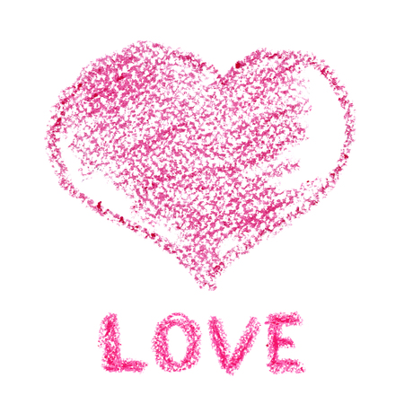 crayons: Pink crayon heart -- Holiday Valentines day card