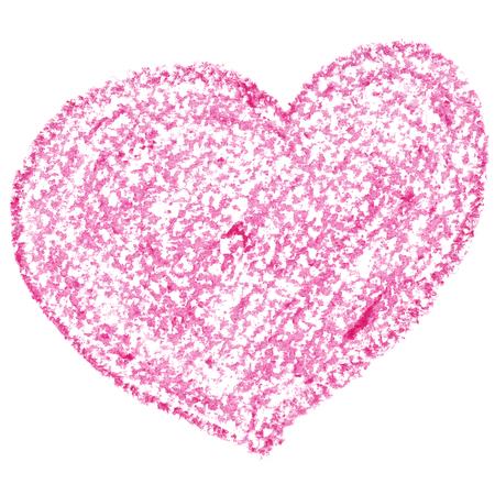 garabatos: corazón rosa aislado en el fondo blanco. Tarjeta del día de San Valentín