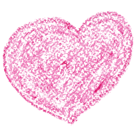 crayons: Pink heart isolated on the white background. Valentines day card