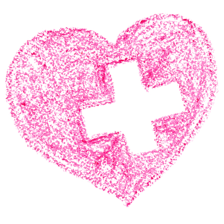 Pink heart with cross drawn by crayon - medical concept