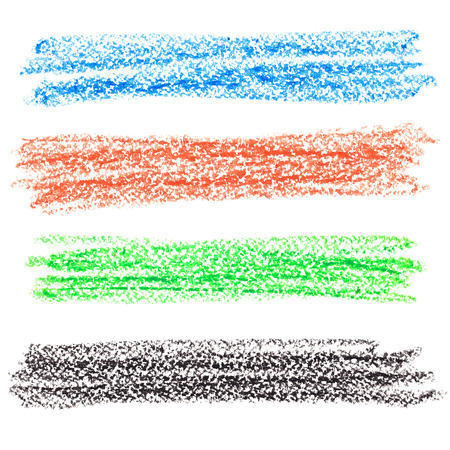 many coloured: Set of colorful crayon lines isolated over the white background Stock Photo