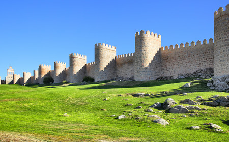castile leon: Panoramic view of medieval city walls of Avila, Spain
