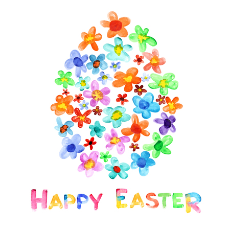 simple flower: Happy Easter - Egg of watercolor flowers and greeting