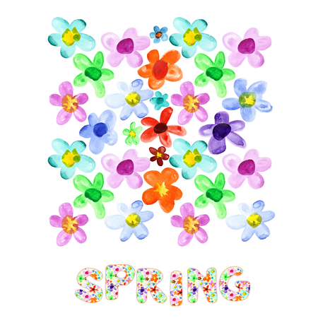 many coloured: Spring - colorful watercolor flowers