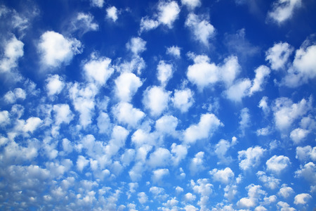 backdrops: Deep blue sky with clouds, may be used as background Stock Photo