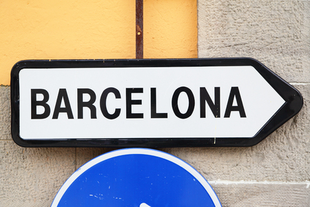 directive: Road sign - directive way to Barcelona Stock Photo
