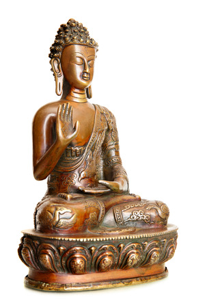 blessing: Figurine of blessing Buddha isolated over the white background
