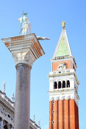 the campanile: Campanile and St.Teodoro on column in Venice, Italy