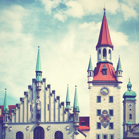 townhall: Old Townhall at Marienplatz in Munich, Bavaria, Germany. Retro style filtered image Editorial
