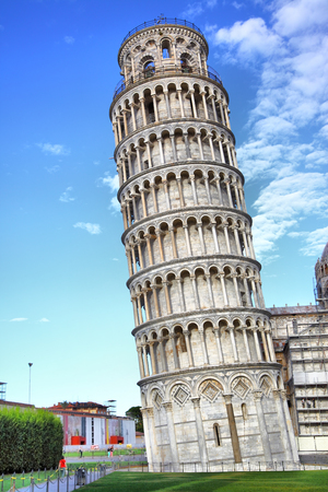 tilt views: Leaning Tower in Pisa, Italy Stock Photo
